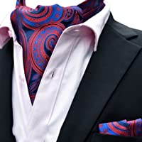 MOHSLEE Men's Classic Paisley Ascot 100% Silk Cravat Self Ties Pocket Square Set