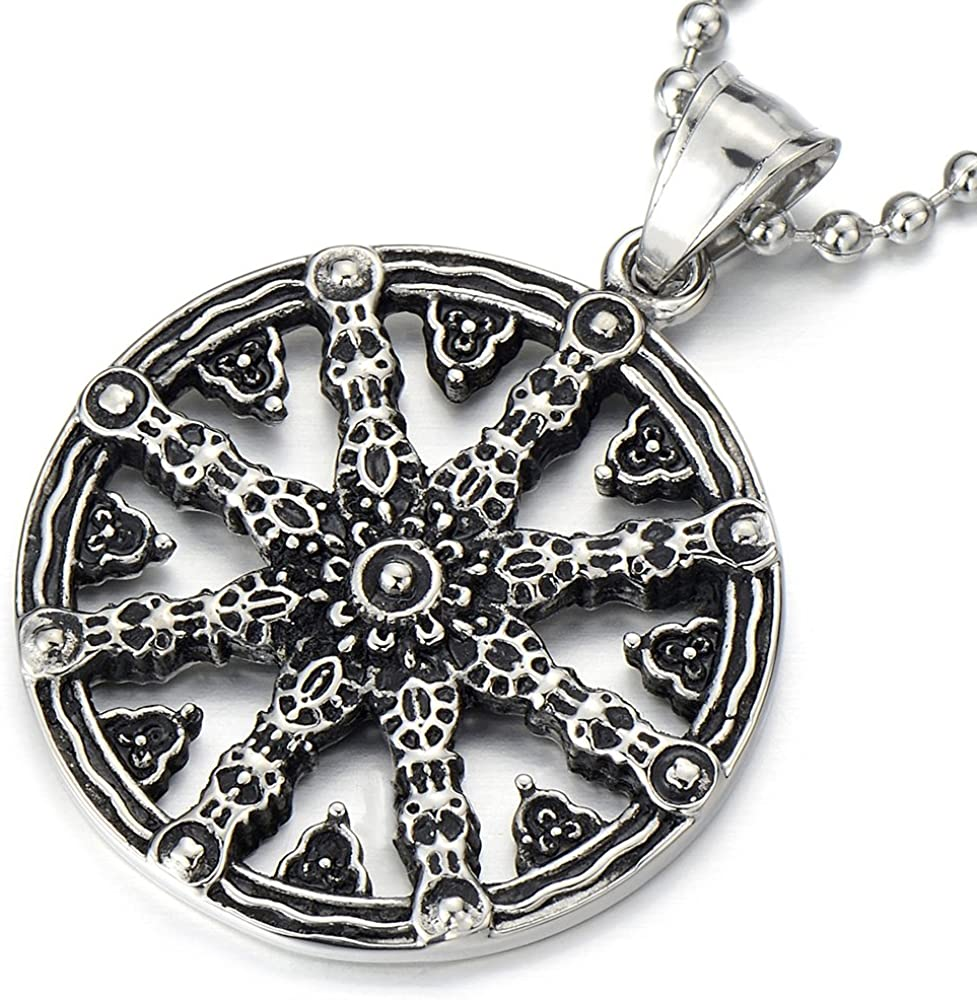 COOLSTEELANDBEYOND Mens Dharmachakra Pendant Dharma Wheel of Law Symbol Necklace Stainless Steel with 23.4 in Chain