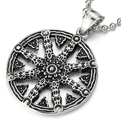 Mens dharmachakra pendant dharma wheel of law buddhist symbol mens dharmachakra pendant dharma wheel of law buddhist symbol necklace stainless steel with 234 in chain aloadofball Choice Image