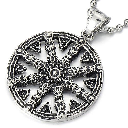 Mens Dharmachakra Pendant Dharma Wheel Of Law Buddhist Symbol