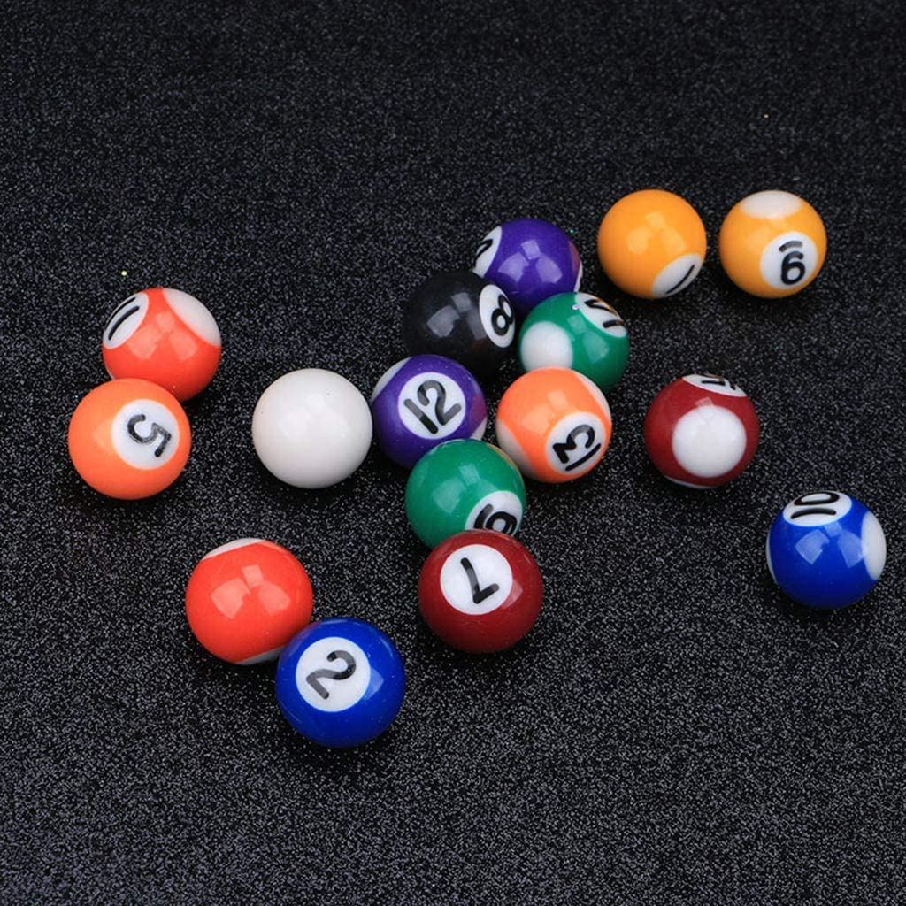 ATATMOUNT 16 pi/èces//Ensemble 25mm r/ésine Mini Boule de Billard Enfants Jouet Petites Boules de Queue de Piscine Ensemble Complet Mini Accessoires de Table de Billard