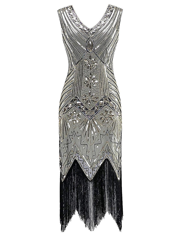 Womens Flapper DressVintage 1920s V Neck Beaded Fringed Lace Tassels Hem Flapper Great Gatsby Dress,XXXX-Large,C-Chartreuse