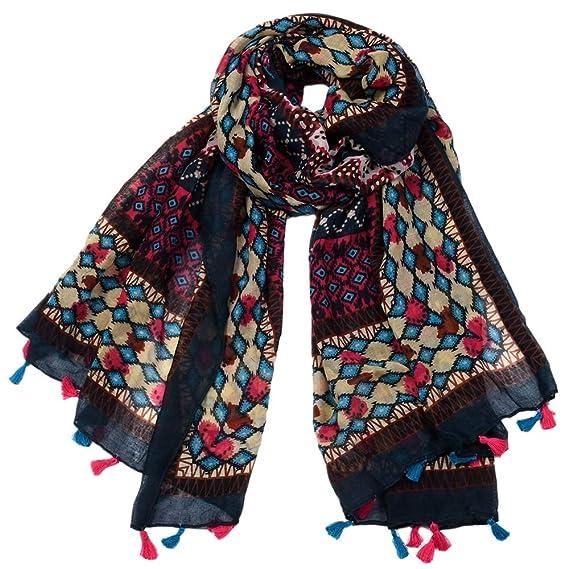 Yao Style ethnique Boho Accrocher Foulard De Soie Foulard Géométrique  Écharpe Voile Grande À La Mode Confortable Élégant En Mousseline De Soie  Châle Pour ... dfa5d3a112d