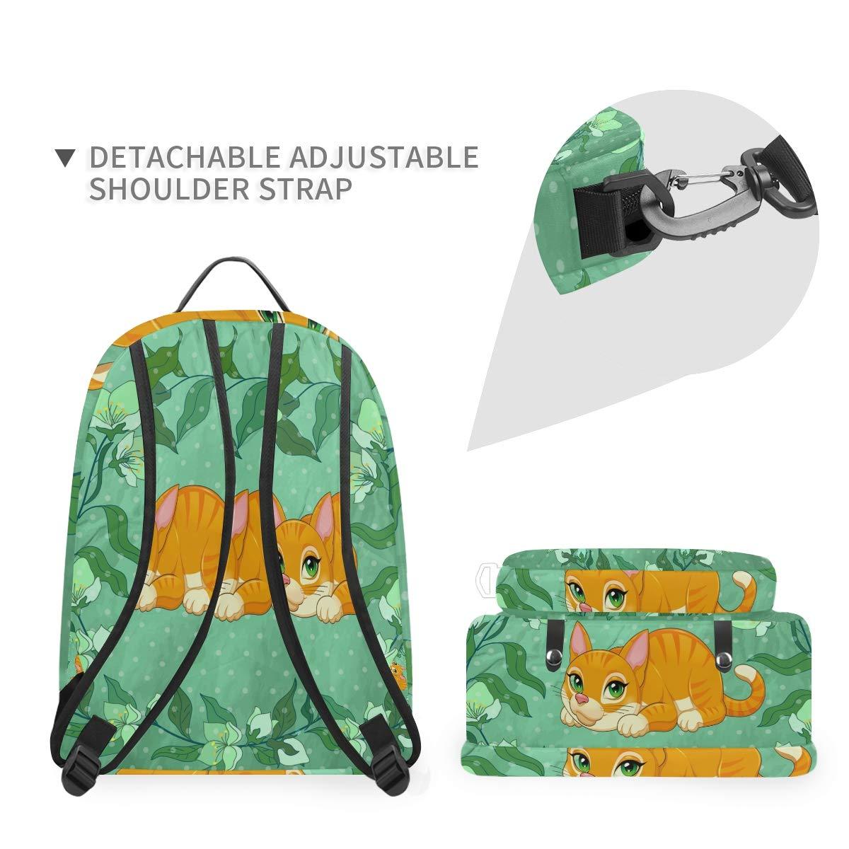 Flower Cat Green Shoulder Backpack Messenger Crossbody Laptop Bag Student Bookbags for Kid Girls Boys