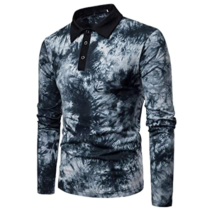 0b7cc3454 Sinohomie Men s Long Sleeve Polo Shirts Fashion Ink Printed Button Henley T- Shirts Casual Slim