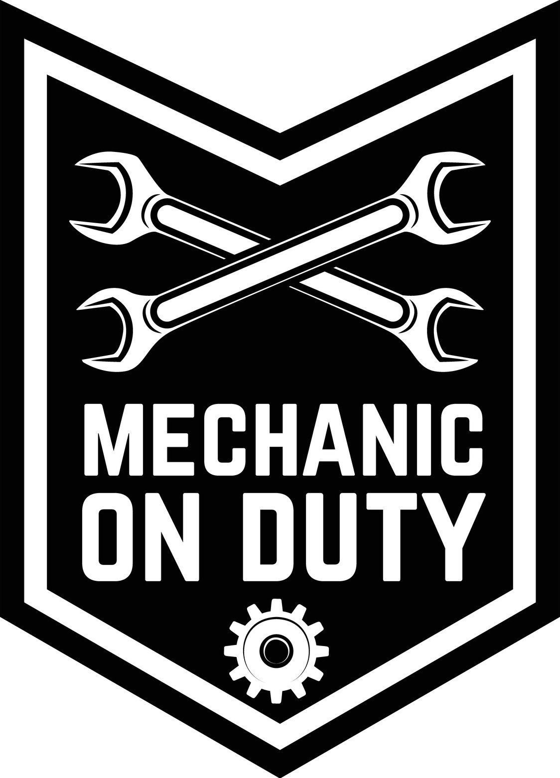 Cool Manly Mechanic On Duty Badge Cartoon Icon Vinyl Sticker (12'' Tall) by Shinobi Stickers