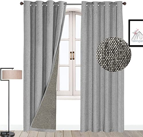 Lorpect Room Darker Curtain with Tieback Thermal Insulated Grommets Drapes for Living Room 52×108 Inch, Grey Set of 1 Panel