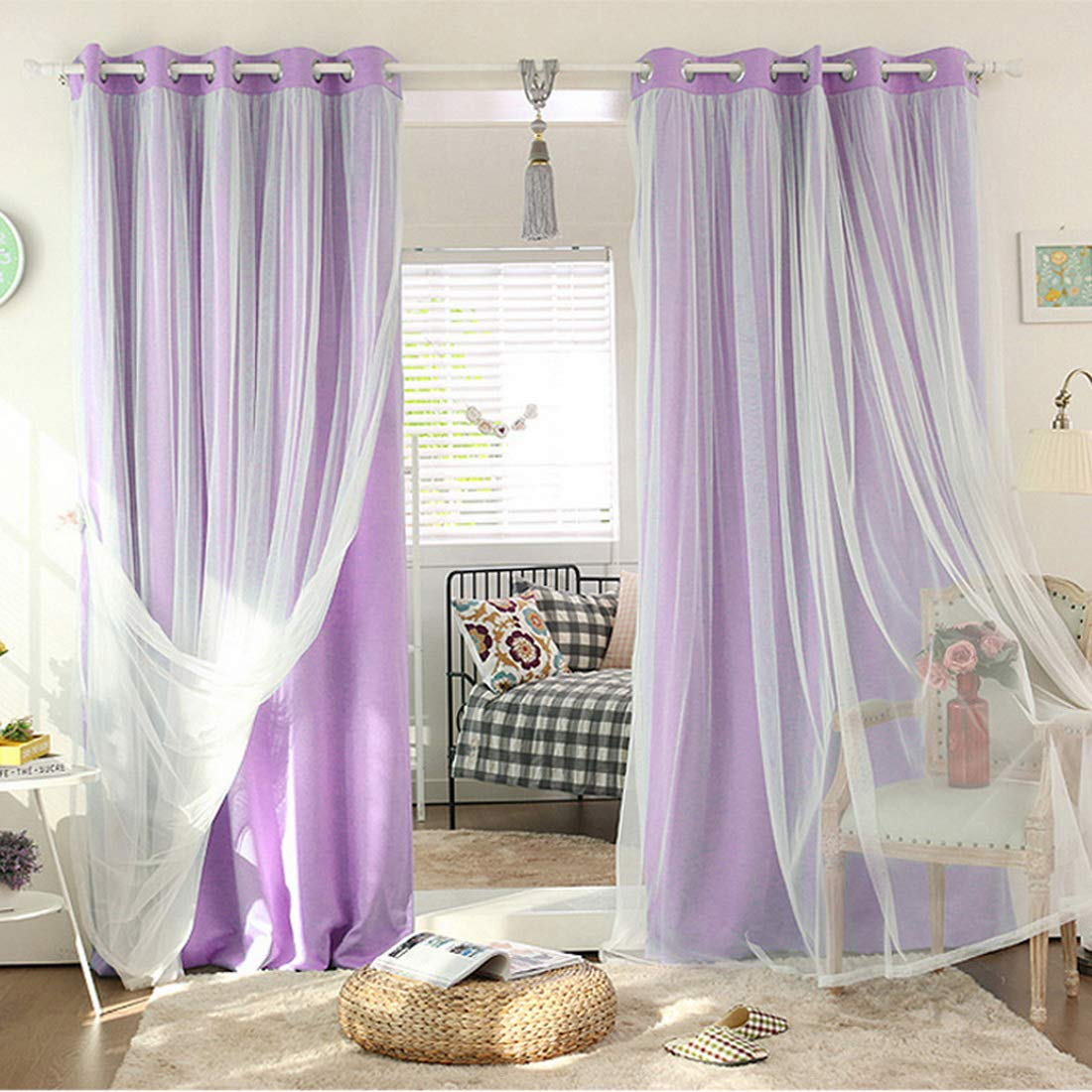 Didihou Voile Mix Match Blackout Curtain Elegant Panel Double Layer Darkening Thermal Insulated Window Treatment Grommet Drapes for Living Room Girls Bedroom, 1 Panel (42W x 84L Inch, Light Purple)
