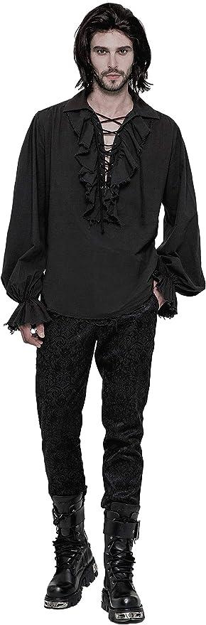 Camisa de Vampiro gótica para Hombre Camisa de Manga Larga Negra Steampunk VTG Victoriana: Amazon.es: Ropa y accesorios