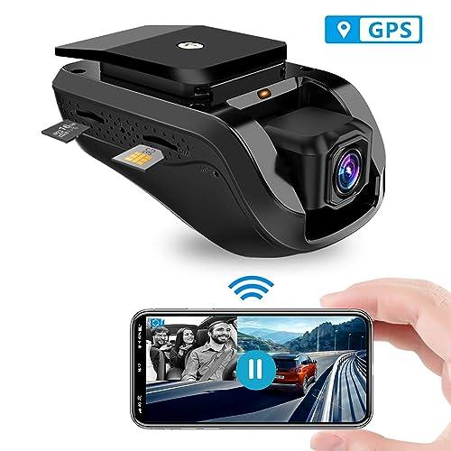 Dash cam Toptellite Video Remoto 3G Wifi Dual Dash Cámara de Coche Conducir Grabadora 1080P con GPS Incorporado Grabación en Bucle Sensor G Visión Nocturna Tarjeta de 16GB TF Gratis