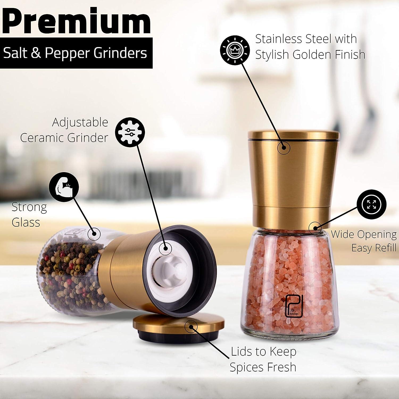 Golden Salt and Pepper Shaker Mill Brass Pepper Grinders Refillable Sea Salt Adjustable Coarseness Gold Salt and Pepper Grinder Set Black Peppercorn