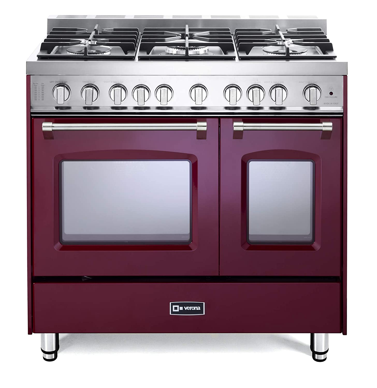 Verona Prestige VPFSGG365DBU 36 inch. All Gas Range 5 Sealed Burners Double Oven Convection Storage Drawer Burgundy