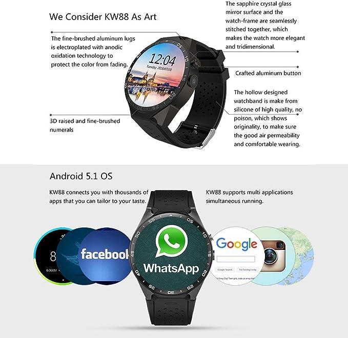 KOBWA KW88 3G WIFI Smartwatch Teléfono Todo en uno Bluetooth Smart ...