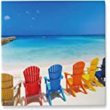 Pummelouty Tropical Turquoise Beach with Outdoor Adirondack Chairs,Room Decor for Men Bedroom Aruba Canvas Art 8x8