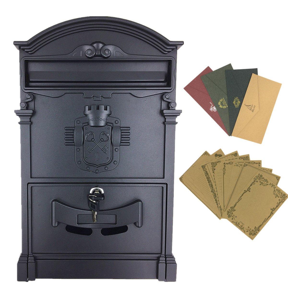 Yahead Boîte aux lettres rétro vintage extérieure en aluminium - Avec fixations murales - Sécurisée - Avec papeterie (8feuilles de papier à lettre et 4enveloppes), noir
