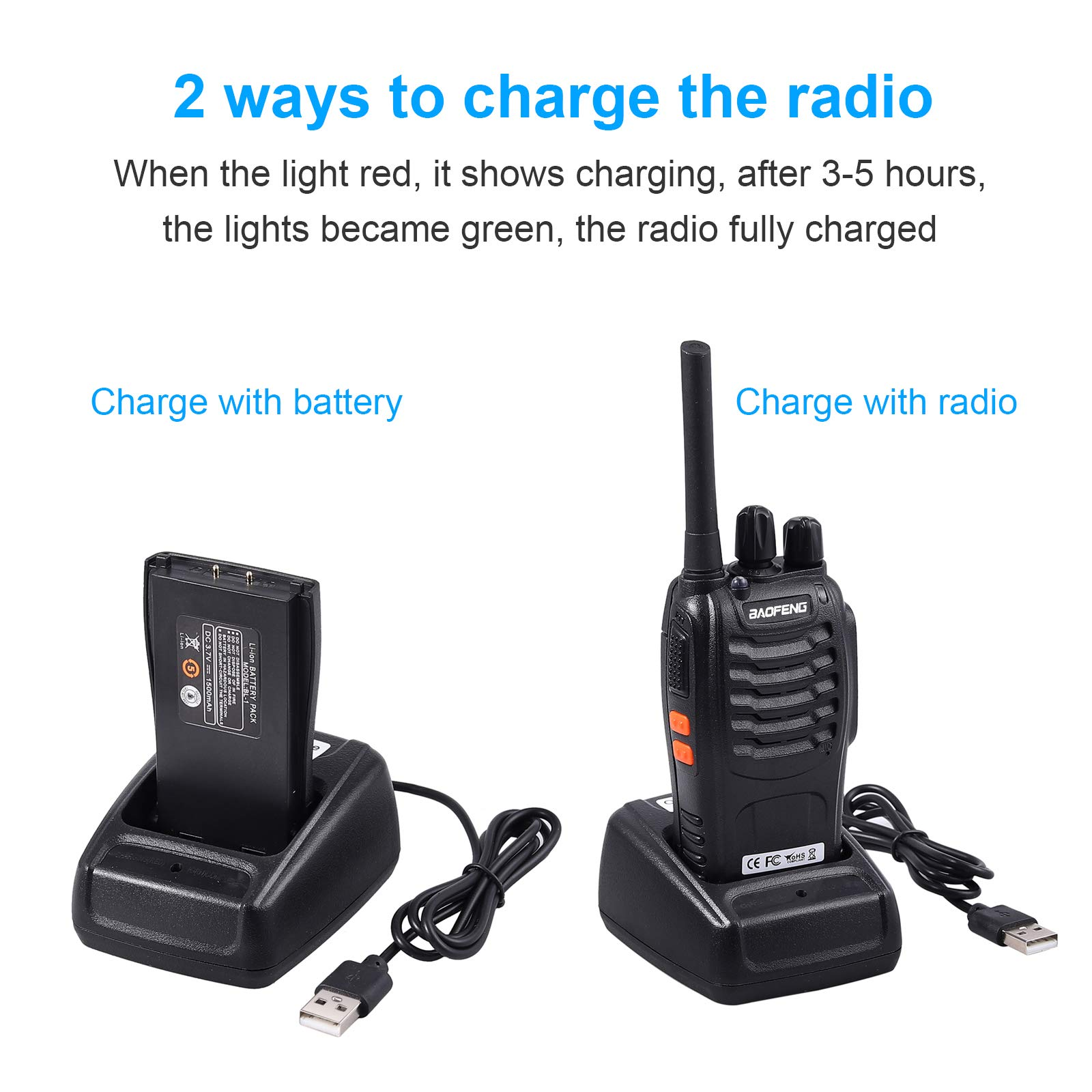 Neoteck 2 PCS Walkie Talkies Long Range 16 Channel 2 Way Radio FRS462MHz Walky Talky Rechargeable with USB Charger Original Earpieces for Field Survival Biking Hiking by Neoteck (Image #2)