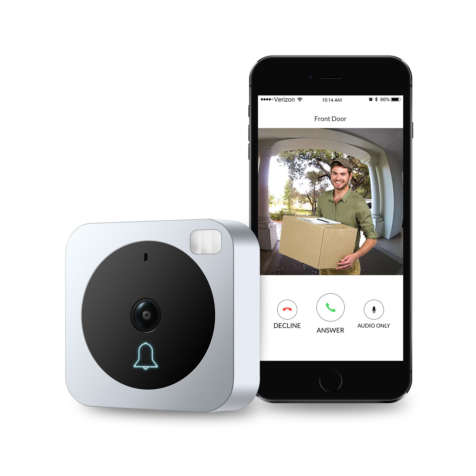 Vuebell Wifi Video Doorbell, Wireless Video Intercom Doorbell with Motion Detection, Night Vision Infrared LEDs , Two-way Audio for IOS and Android App by VueBell
