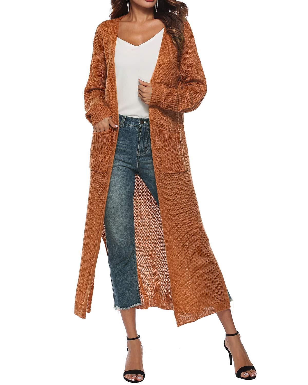 BBYES Women Autumn Winter Long Sleeve Open Capes Casual Coat Blouse Jacket Cardigan Kimono Pockets Yellow M