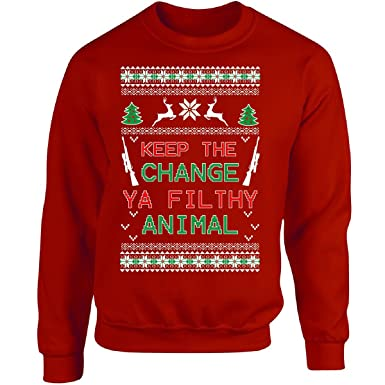 fd4bc348653 Ugly Christmas Sweater Keep The Change Ya Filthy Animal Ttd1 - Adult  Sweatshirt at Amazon Men s Clothing store