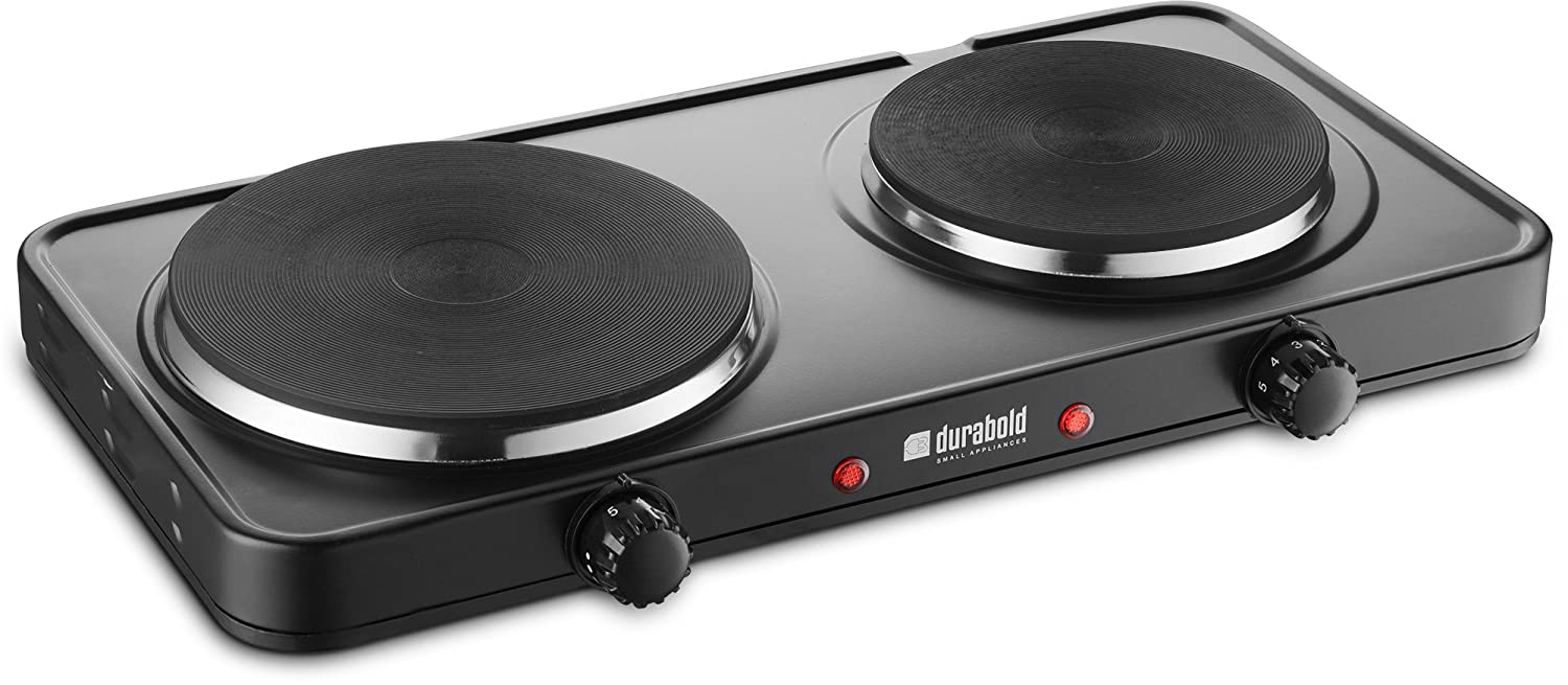 Durabold Kitchen Countertop Cast-Iron Double Burner - Stainless Steel Body – Sealed Burners - Ideal for RV, Small Apartments, Camping, Cookery Demonstrations, or as an Extra Burner (Basic)