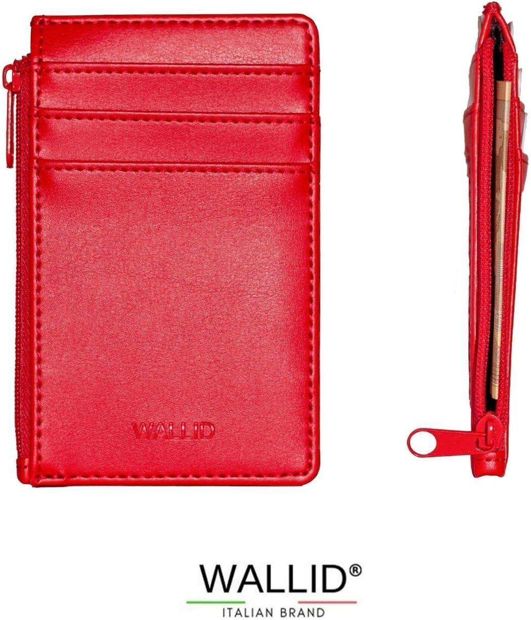 Blocage RFID Porte-Badge bancaire Cartes et permis de Conduire Wallid Porte-Cartes de cr/édit Petit Portefeuille Fin avec Fermeture /éclair
