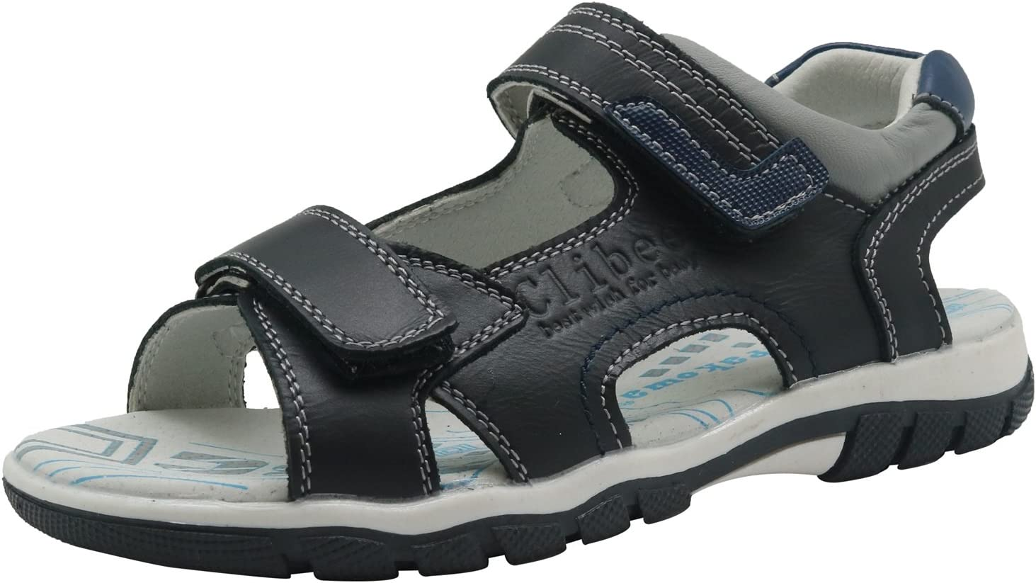 XM-Childrens shoes Non-Slip Boys Double Adjustable Strap Leather Sandals with Arch Support Color : Black335 , Size : 3 M US Little Kid Durable Toddler Kid