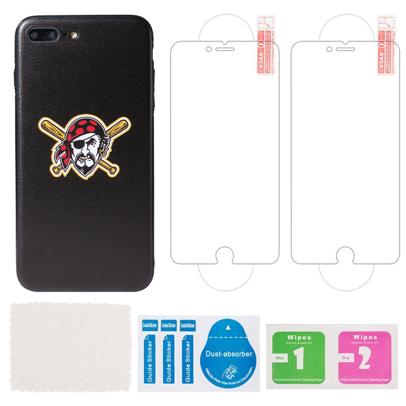"for iPhone 7 Plus//iPhone 8 Plus 5.5/"" Sportula MLB Phone Case Matching 2 Premium Screen Protectors Extra Value Set Tampa Bay Ray"