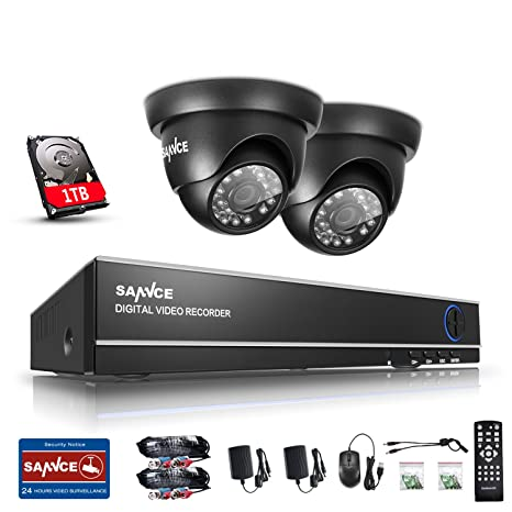 SANNCE Kit de 2 Cámaras Sistema de Seguridad 720P con 1TB disco duro de vigilancia (
