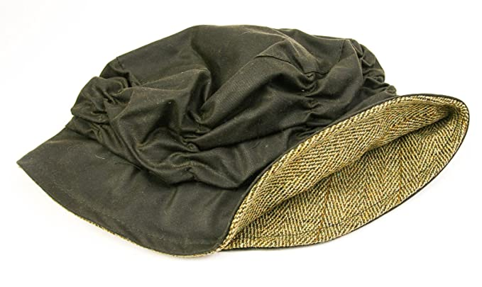 1ed3174e31555 Tweedmill Textiles Waterproof Waxed Cotton Cloche Rain Hat - Green Wax Olive  Tweed Trim  Amazon.co.uk  Clothing