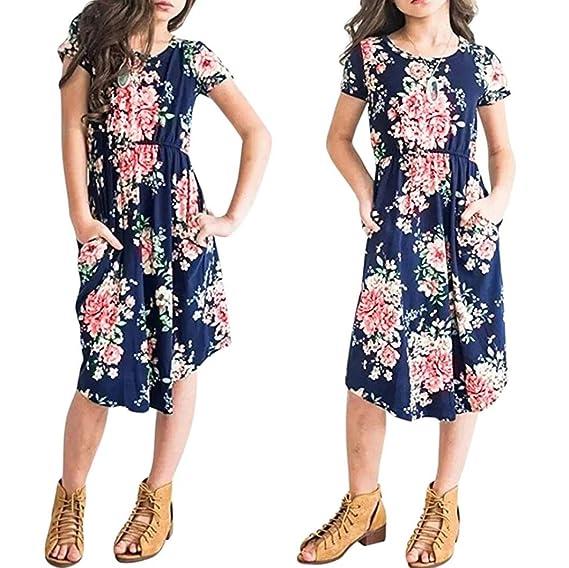 Vestido De Bolsillo Con Estampado De Flores De Niña AIMEE7 Vestido Floral Para Niñas Fiesta Infantil Ropa De Playa Vestidos: Amazon.es: Ropa y accesorios