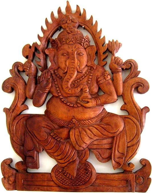 Wall Panel Hindu God Ganesh Wooden Vintage Ganesha Sculpture Statue Art Decor US