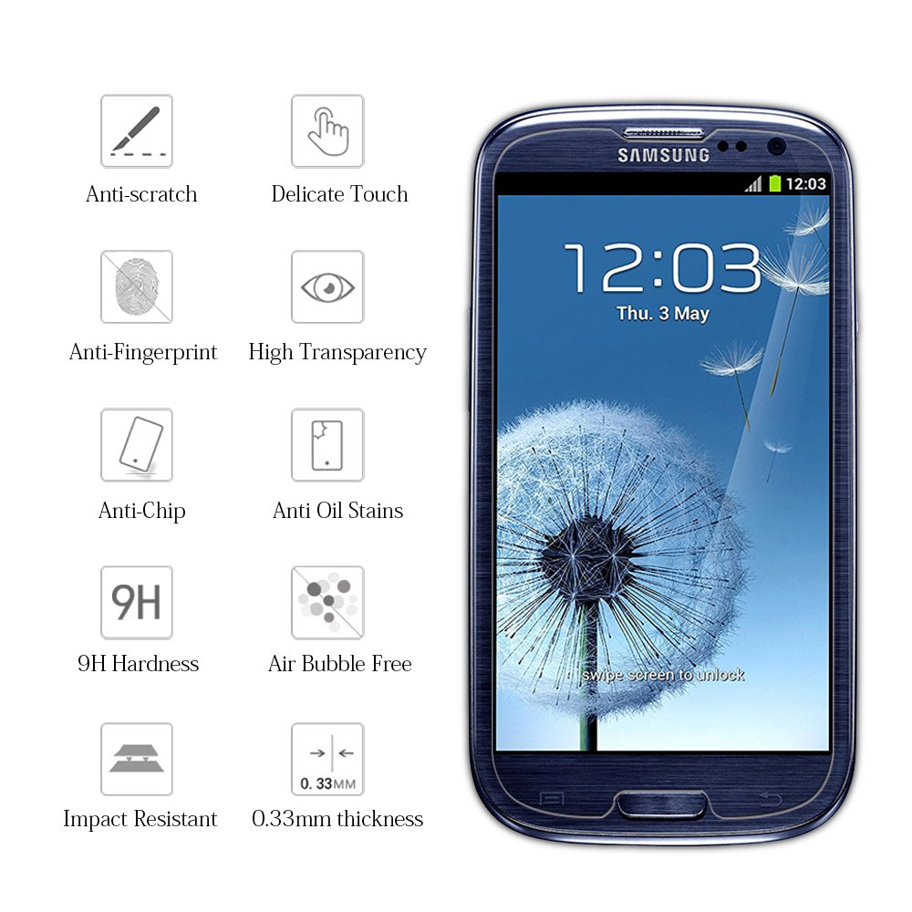 dfebdaf490a Amazon.com: KATIN Galaxy S3 Screen Protector - [2-Pack] for Samsung Galaxy  S3 III i9300 Tempered Glass Bubble Free, 9H Hardness with Lifetime  Replacement ...