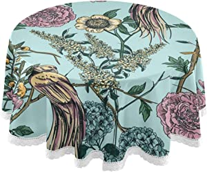 MCHIVER Table Cloth Round Tablecloths 60 Inch - Victorian Garden Floral Bird Polyester Circular Table Mat for Dinner Holiday Banquet Wedding Baby Shower