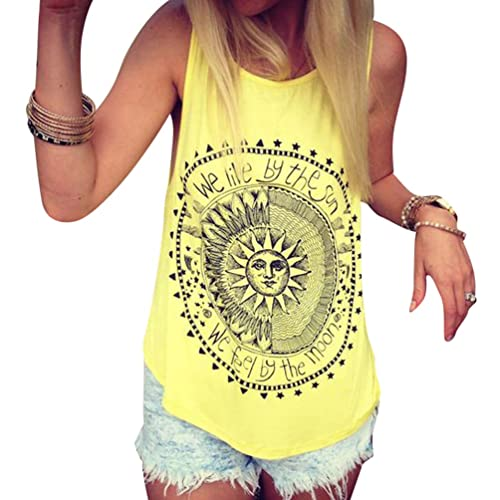 ZKOO Mujeres Sin Mangas Sun Impresión Verano Camiseta Tops Camisetas Ocasionales