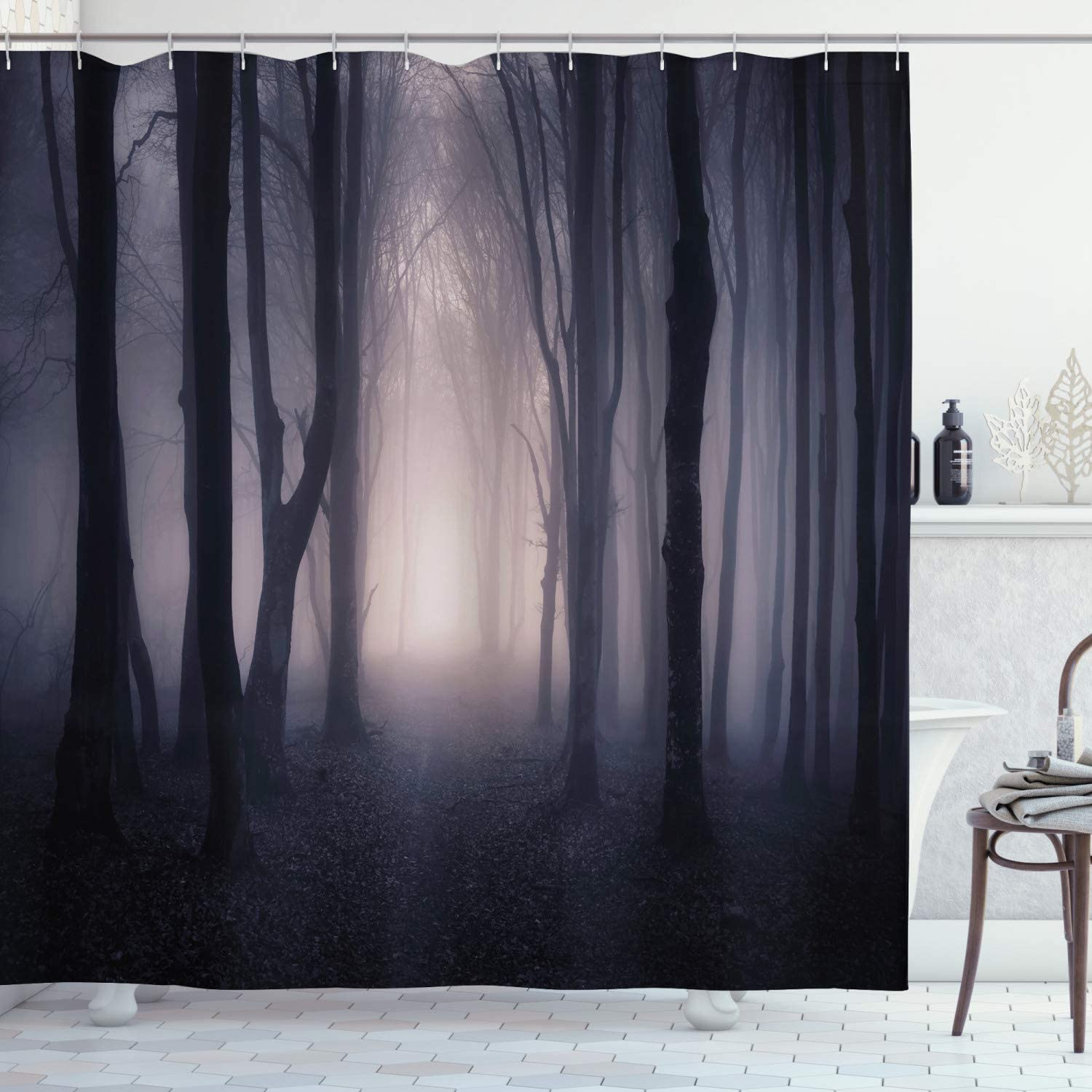 "Ambesonne Forest Shower Curtain, Path in Dark Deep in Forest with Fog Halloween Creepy Twisted Branches Picture, Cloth Fabric Bathroom Decor Set with Hooks, 70"" Long, Grey Purple"