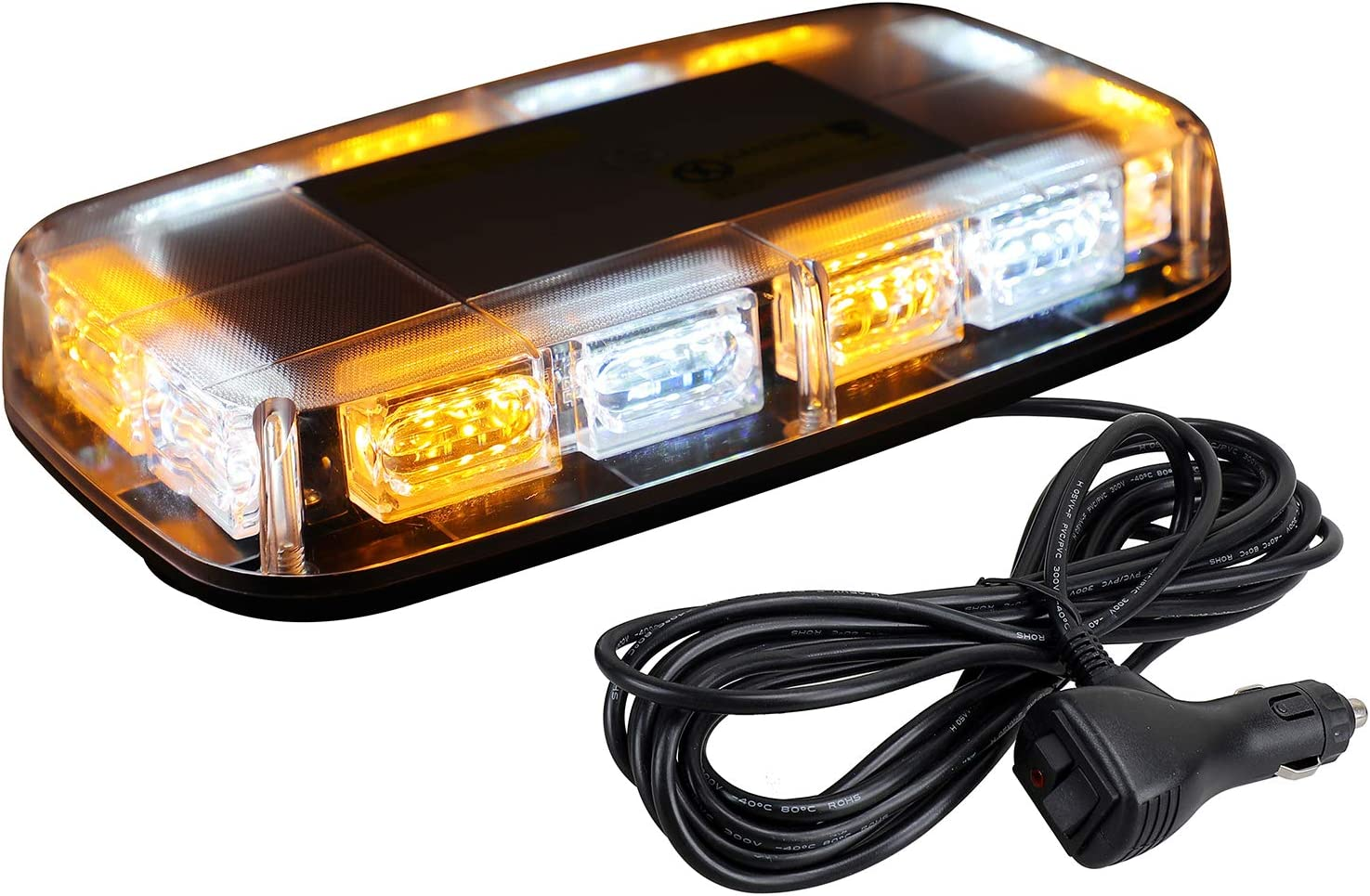 [Upgraded 5] ASPL 48LED Roof Top Strobe Lights, High Visibility Emergency Safety Warning LED Mini Strobe Light bar with Magnetic Base for 12-24V Snow Plow, Trucks, Construction Vehicles (Amber/White)