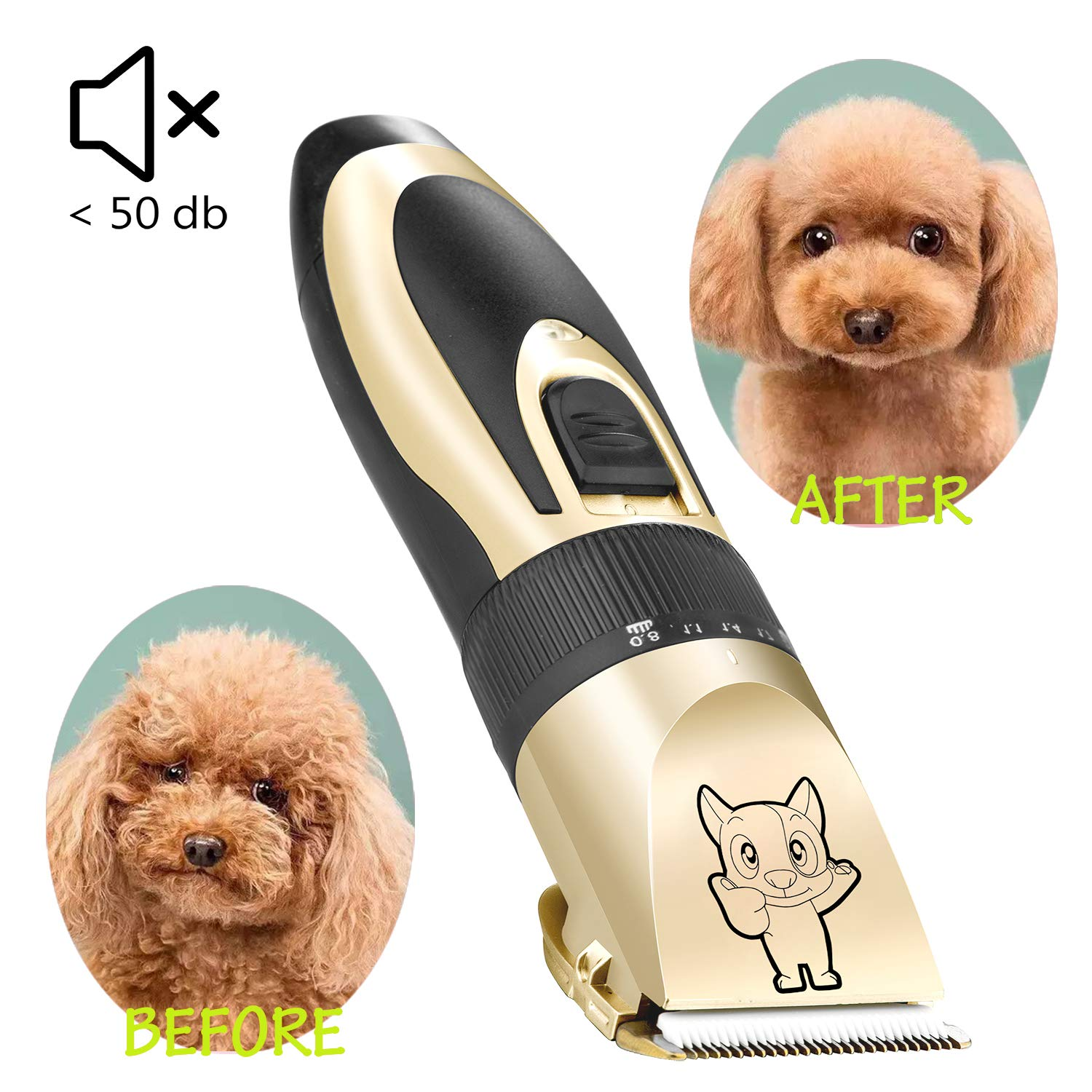 Dog Grooming Kit Clippers, Low Noise, Electric Quiet, Rechargeable, Cordless, Pet Hair Thick Coats Clippers Trimmers Set, Suitable for Dogs, Cats, and Other Pets by Highdas