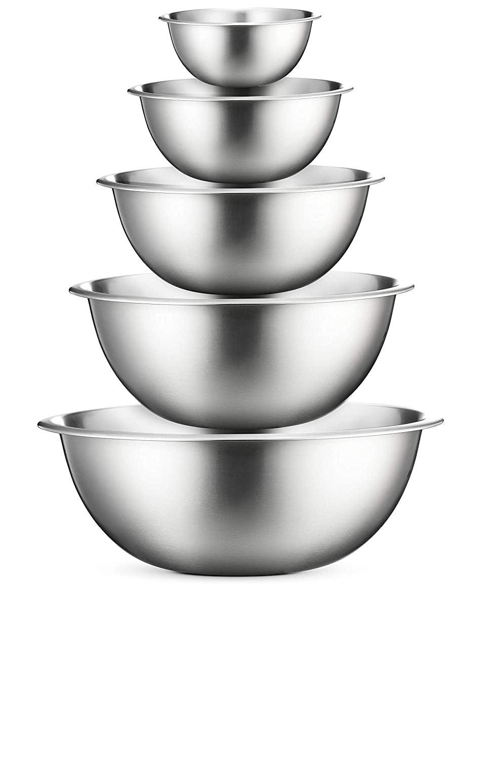 Premium Stainless Steel Mixing Bowls (Set of 5) Brushed Stainless Steel Mixing Bowl Set - Easy To Clean, Nesting Bowls for Space Saving Storage, Great for Cooking, Baking, Prepping