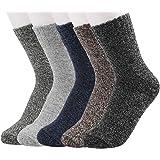 Women's Socks Soft Warm Wool Socks Thick Knit Casual Cozy Crew Socks 5 Pairs