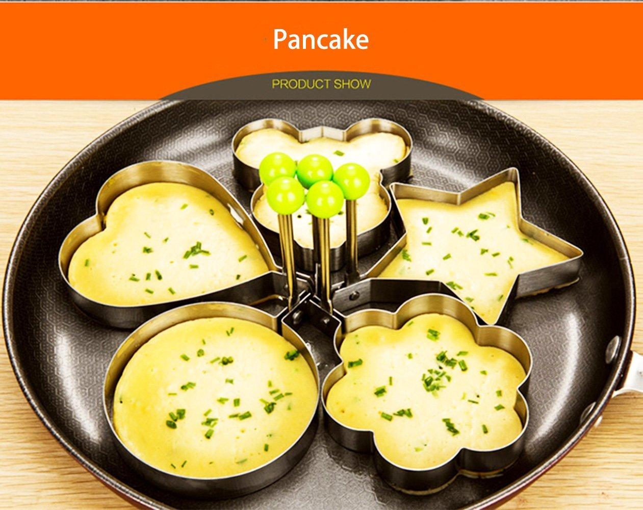 Makidar 5PCS Uovo fritto muffa delluovo Anello Egg shaper SUS304 acciaio inossidabile del pancake della muffa attrezzo della cucina del pancake Anelli