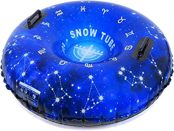 NARABB Winter Snow Sled Heavy Duty Snow Tube Inflatable Sled for Kids and Adults Blow Up Air Inflatable Tubes for Sledding Heavy Duty Sleds for Snow River Tubes Pool Floats Outdoor Activities