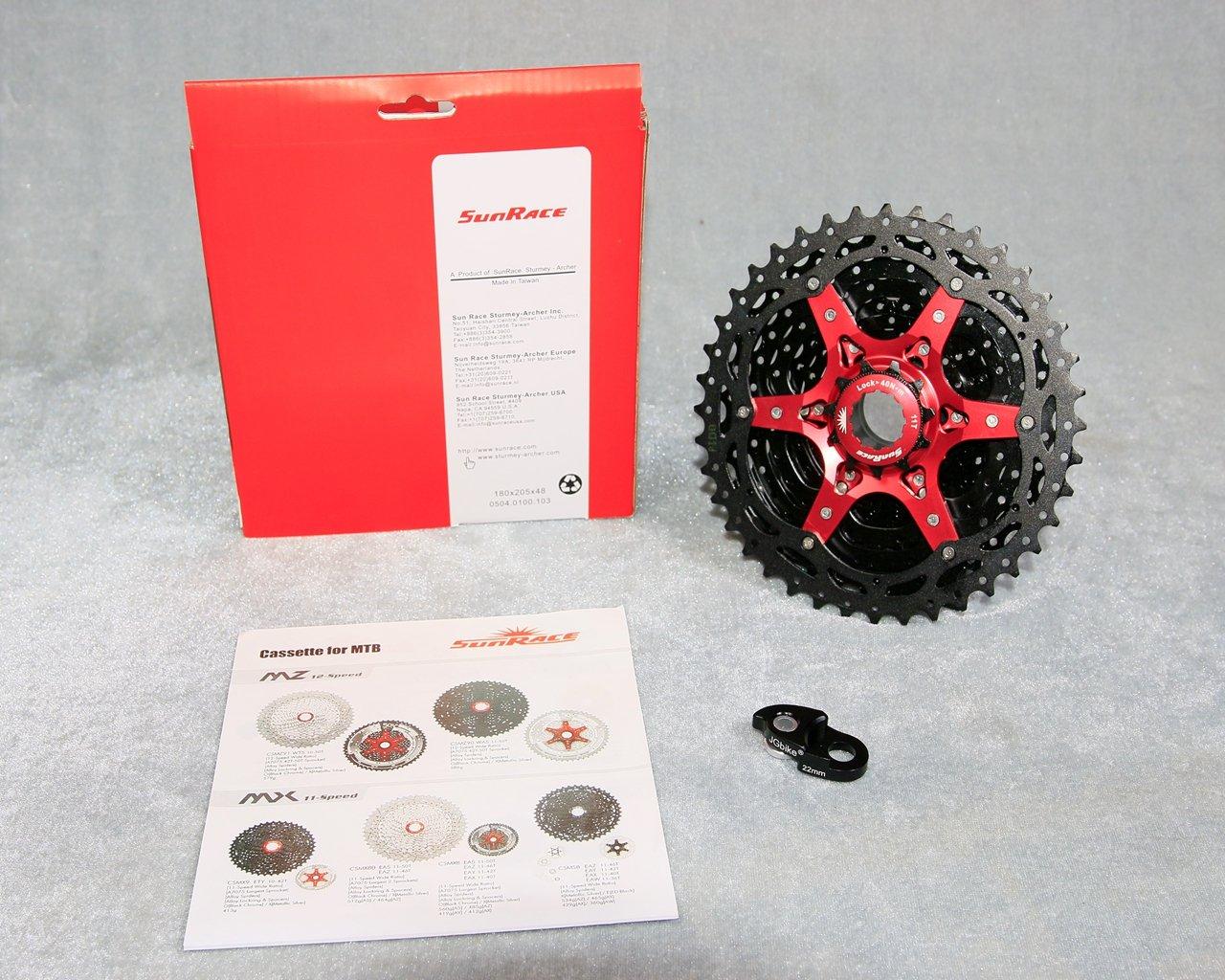 JGbike Sunrace 10 Speed Cassette 11-40T CSMX3 Black Wide Ratio MTB Cassette for Mountain Bike Including Extender