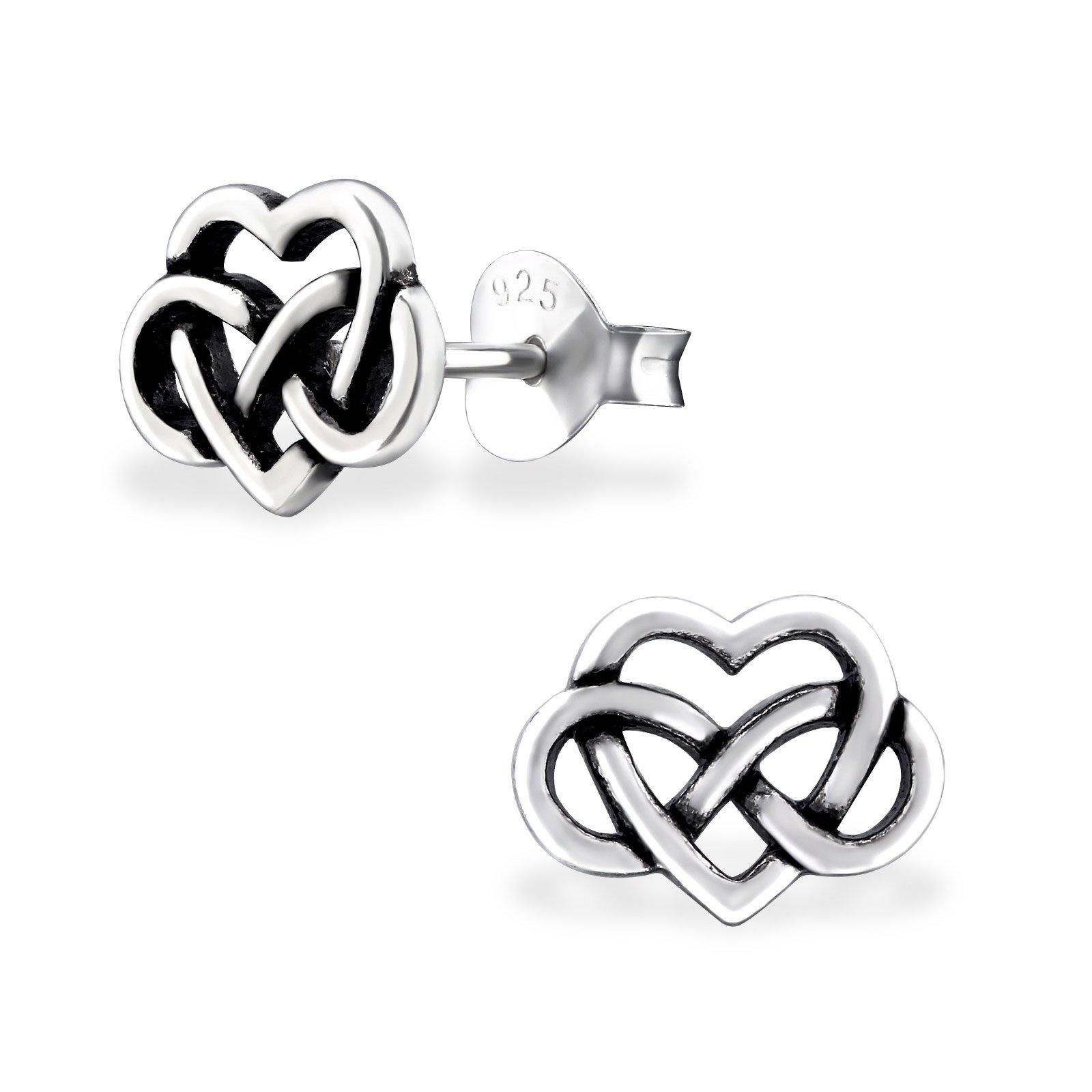 925 Sterling Silver Hypoallergenic Infinity Love Heart Stud Earrings for Girls 31603