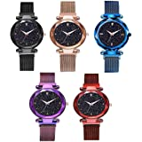 NEO VICTORY Analogue Multicolour Dial Waterproof Magnet Stainless Steel Strap Women's Watch - Pack of 5