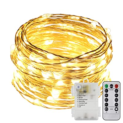 ErChen Battery Operated Silver Copper Wire Led String Lights, 33FT 100 LEDs 8 Modes dimmable Waterproof Fairy Lights with Remote Control Timer for Indoor Outdoor Wedding Bedroom (Warm White): Home Improvement