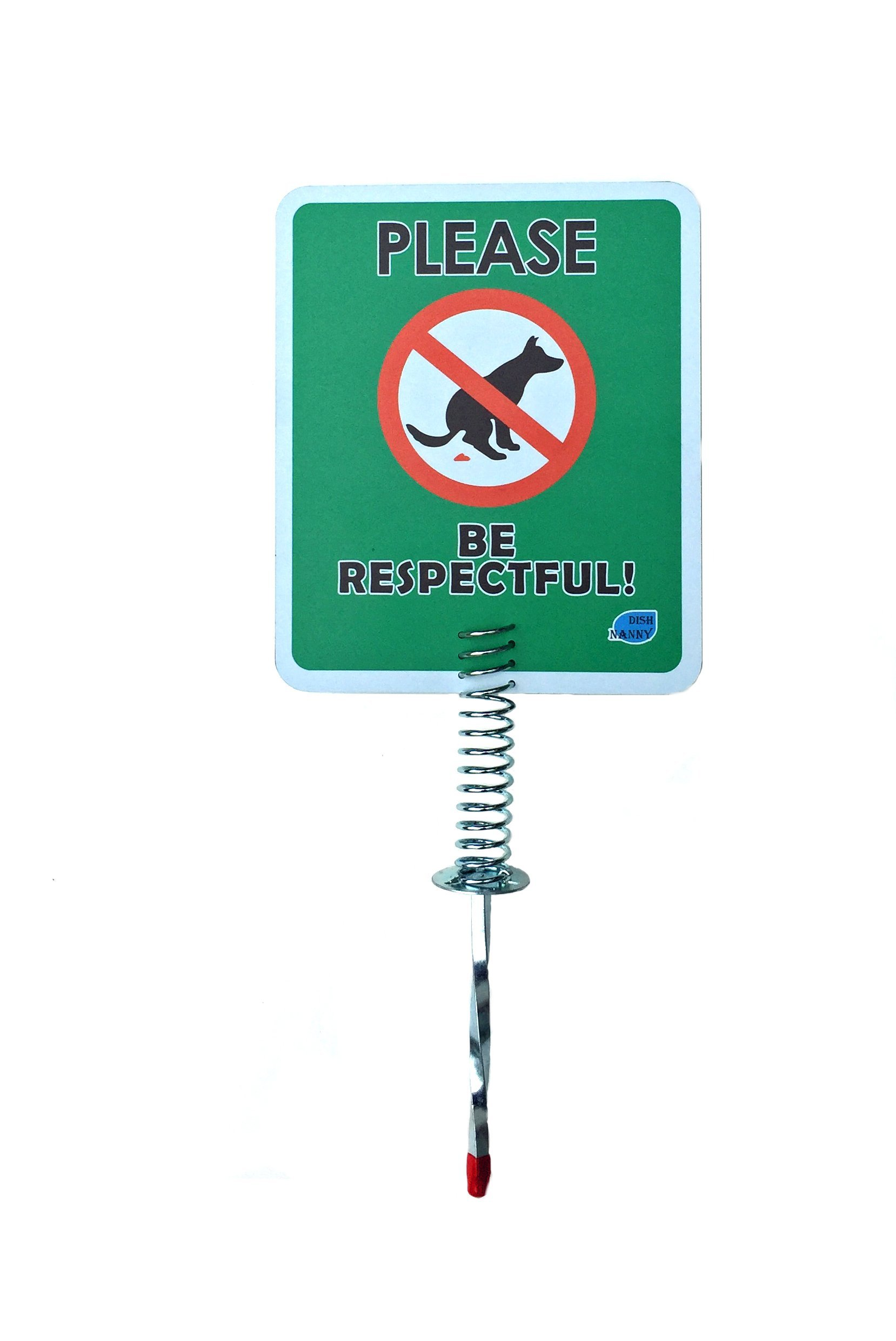 NEW & Improved - No Dog Poop Yard Sign | Please Be Respectful Signs MADE WITH METAL STAKE Dog Poop Signs For Yard, Stop Pets Pooping or Peeing the Lawn Yard (Please Be Respectful)