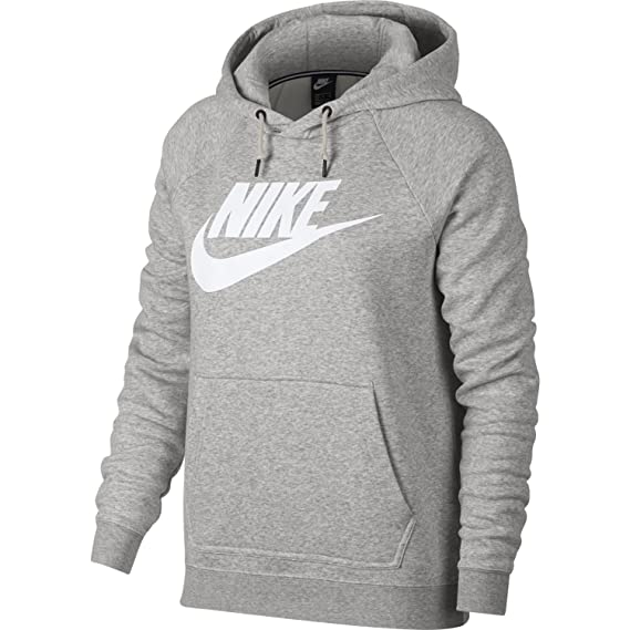 5f2eefa9386f Nike Womens NSW Rally HBR Pull Over Hoodie Grey Heather White 930913-050  Size Medium