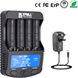 Universal Battery Charger Smart Fast 18650 Charger Large LCD Screen Li-ion IMR INR ICR Ni-MH Ni-Cd AAAA AAA AA A SC C D Rechargeable Batteries (4 Slot Discharge Function)
