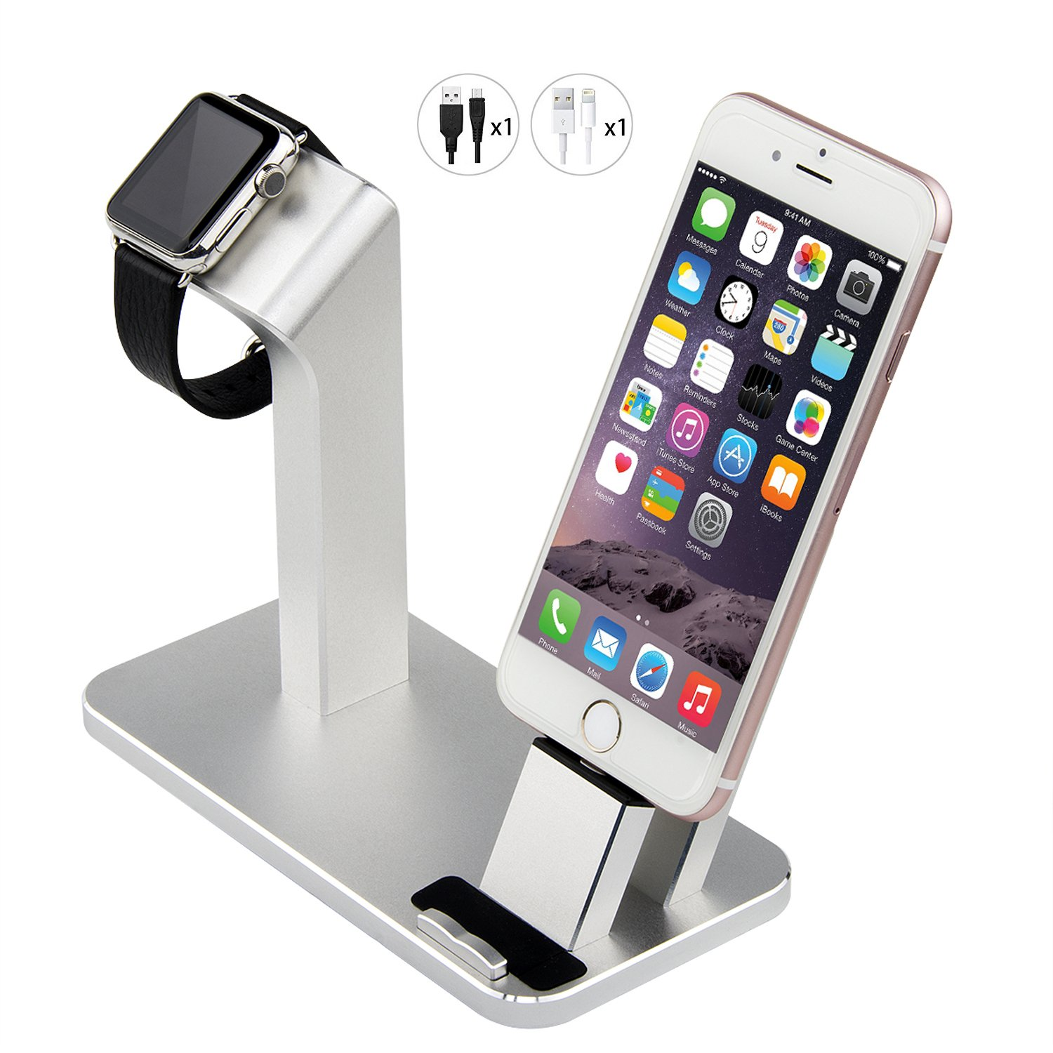 Apple Watch Stand, Aluminum Charging Stand Holder Cradle for Apple watch 38mm 42mm/iPad/iPhone7Plus/7/6Plus/6s/6/SE/5S/5(iPhone cable Included)sliver