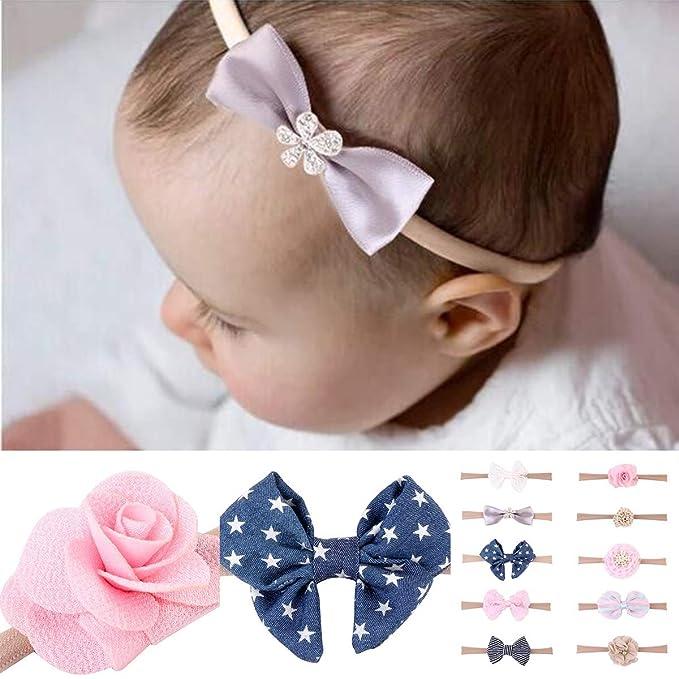 Yesiidor Newborn Baby Girls Flower Headband Cute Soft Elastic Band Headwear Hair Accessories
